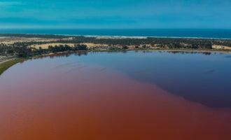 Aerial,View,Of,Lac,Rose,Or,Lake,Retba,In,Senegal.